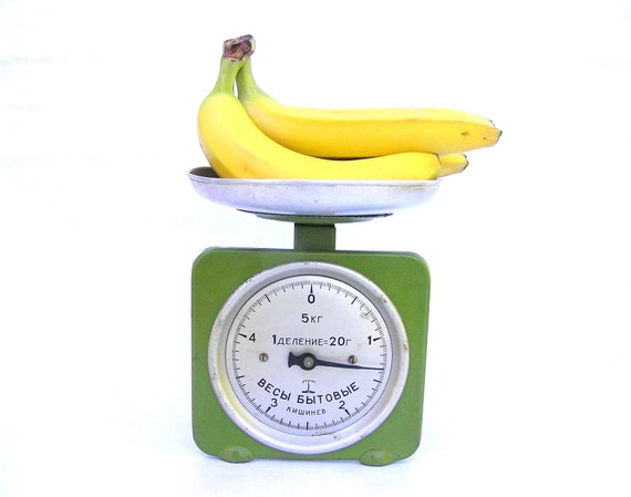 Vintage food scale scales apple green retro home decor bananas apple