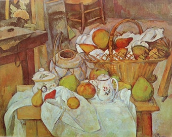 The Kitchen Table, by Paul Cezanne, French Artist,1966 Oversized Vintage Art Print