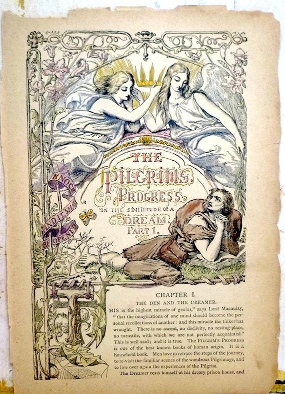 RESERVED LISTING for ANNA - Similitude of a Dream 1834 Pilgrim's Progress Vintage Antique Victorian Art Print Wood Engraving