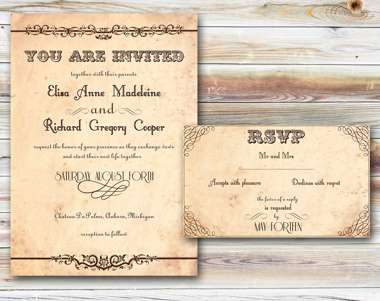 - Invitations sets PRINTABLE - Postcards PRINTABLE - Day of wedding ...