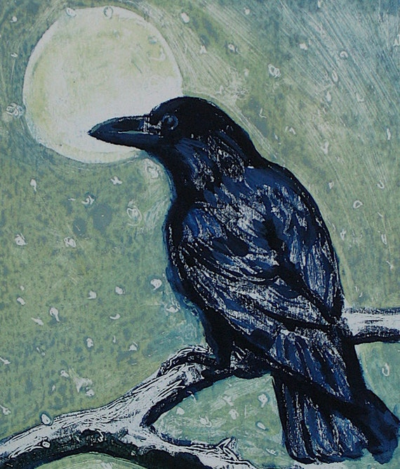 RESERVED Bird painting. Bird and the Falling Snow. Original oil.
