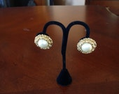 Item is on Sale.   Joan Rivers Vintage Large Faux Pearl and Gold Clip on Earrings