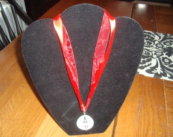 """Item on Sale!  Red Ribbon Howlite Stone Necklace with Silver Tone Clasp  - """"Rebekah"""""""