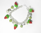 Strawberries bracelet, all handmade in fimo/polymer clay, really kawaii