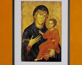 """Madonna and Child, Berlinghiero of Lucca, 13th Century - 8.5""""x11"""" Poster Print - also available in 13x19 - see listing details"""