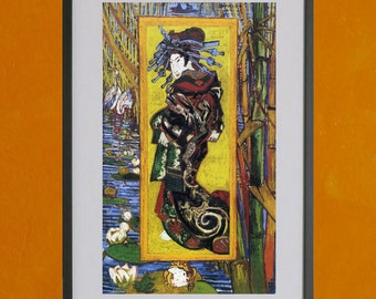 Japonaiserie Oiran after Kesai Eisen, by Van Gogh, 1887 - 8.5x11 Poster Print - also available in 13x19 - see listing details