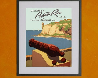 Puerto Rico Travel Poster - View From Morro Castle, 1938 - 8.5x11 Poster Print - other sizes available - see listing details