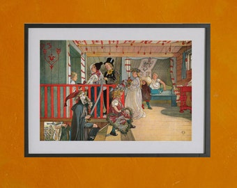 Nameday At The Storage House, Carl Larsson, 1898 - 8.5x11 Poster Print - other sizes available - see listing details