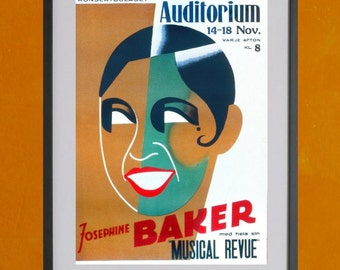 Josephine Baker in Stockholm, 1938 -8.5x11 Poster Print - other sizes available - see listing details