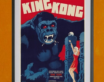King Kong Movie Poster,  Danish Version,1933 - 8.5x11 Poster Print - also available in 13x19 - see listing details