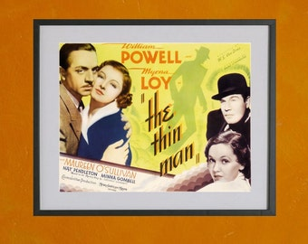 The Thin Man with William Powell and Myrna Loy, 1934 Movie Poster - 8.5x11 Poster Print - also available in 13x19 - see listing details