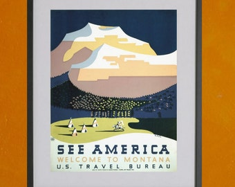 WPA See America, Welcome To MontanaTourism Poster, 1937 - 8.5x11 Poster Print - also available in 13x19 - see listing details