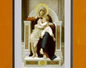 The Virgin, Jesus, and Saint John Baptist by W.A. Bouguereau, 1875 -8.5x11 Poster Print - also available in 13x19 - see listing details