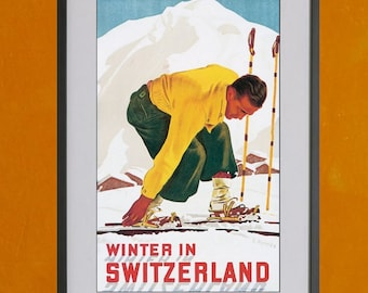 Winter In Switzerland Vintage Ski Poster - 8.5x11 Poster Print - also available in 13x19 - see listing details