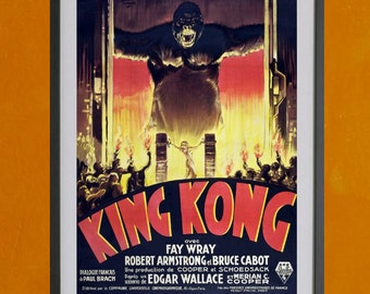 King Kong Movie Poster,  French Version,1933 - 8.5x11 Poster Print - also available in 13x19 - see listing details