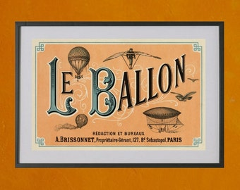 Le Ballon, 1883 - 8.5x11 Poster Print - also available in 13x19 - see listing details