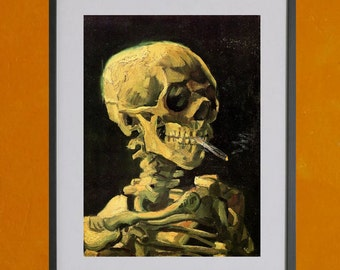 Skull Of A Skeleton With Burning Cigarette by Van Gogh, 1885-1886 - 8.5x11 Poster Print - also available in 13x19 - see listing details