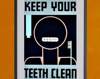 Keep Your Teeth Clean, 1938 WPA Poster - 8.5 x 11 Poster Print - also available in 11x14 and 13x19 - see listing details