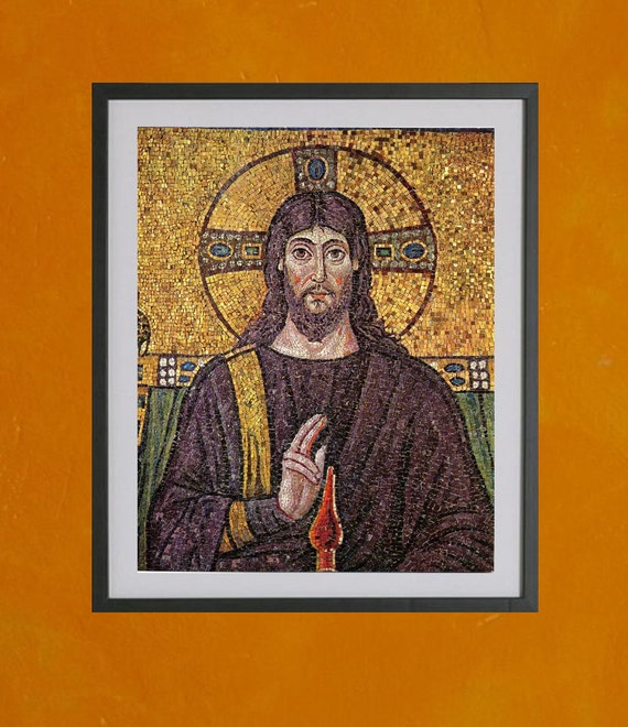 Mosaic of Jesus, 6th Century, Ravenna, Northern Italy - 8.5x11 Poster Print - also available in 13x19 - see listing details