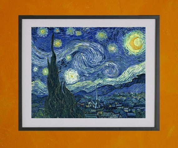 The Starry Night, Van Gogh, 1889 - 8.5x11 Poster Print - also available in 13x19 - see listing details