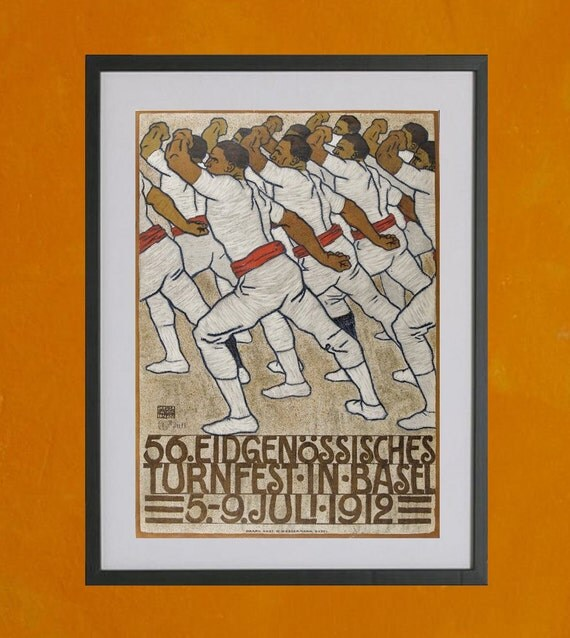 Federal Gymnastics Tournament in Basel, Switzerland, 1912 - 8.5x11 Poster Print - also available in 13x19 - see listing details