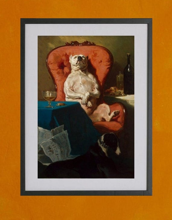 Pug Dog In An Armchair by Alfred Dedreux - 8.5x11 Poster Print - also available in 13x19 - see listing details
