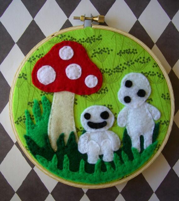 Princess Mononoke- Kodama Embroidery Hoop 4 inches