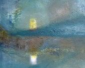 Lighting the rocks - original oil painting on canvas.