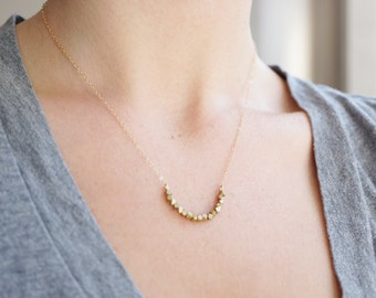 14k Gold & Raw Brass Crescent Necklace