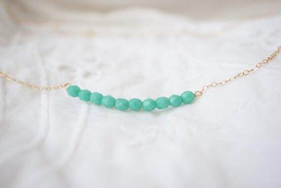 Crème de Menthe Necklace - 14k gold filled curved bar necklace