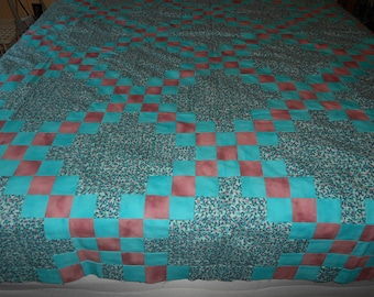 Queen Sized Quilt Top  with binding only -  Irish Chain
