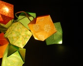 Origami string lights, green and orange paper