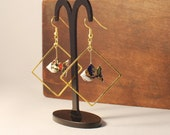 Origami jewelry - gold-colored Kazuko with imperial blue japanese paper, origami earrings, hand folded paper fishes