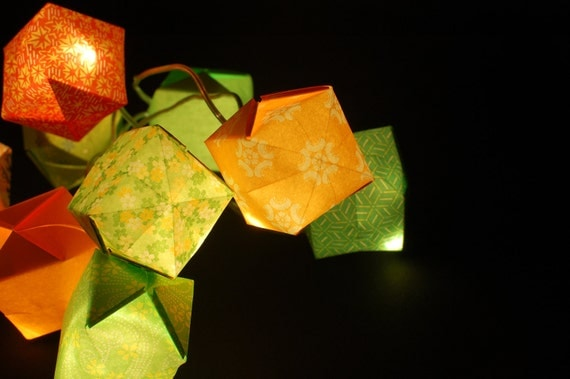Origami string lights green and orange paper