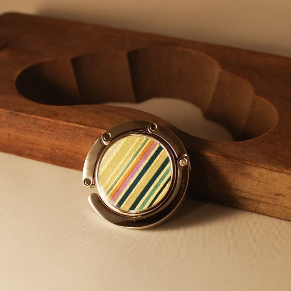 Handbag hook japanese paper with multicolored stripes
