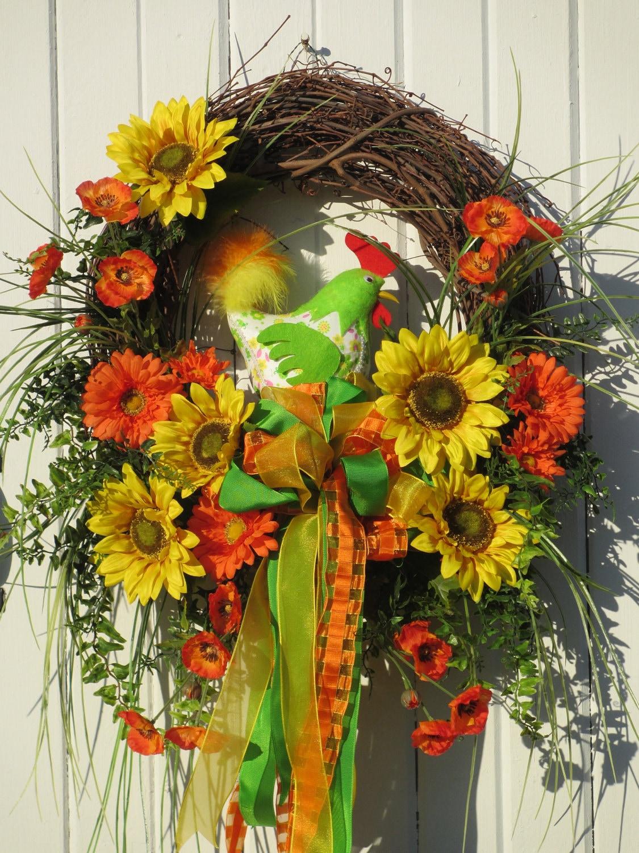 Spring Wreath Summer Wreath Door Wreath By Hollyhillwreaths