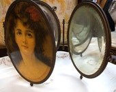 Stunning ca. 1800s Victorian Tri-Fold Travel / Vanity Mirror- Celluloid, Edged in Ornate Brass