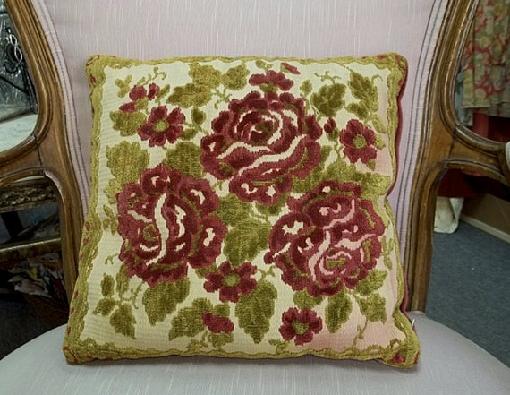 Vintage Rose Design Needlepoint Pillow w/ Red Velvet Backing