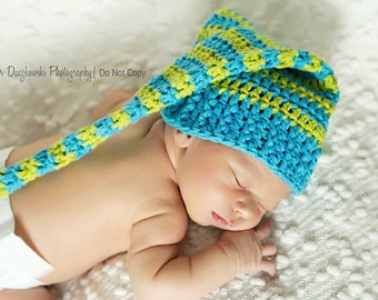 Striped blue and green elf hat
