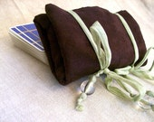 Purple and Green Tarot Deck Reading Cloth and Carrying Case