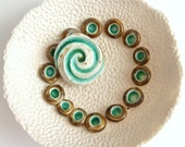 SALE - Porcelain and Glass Pebble Pendant - White and Emerald Green - Spiral Wave