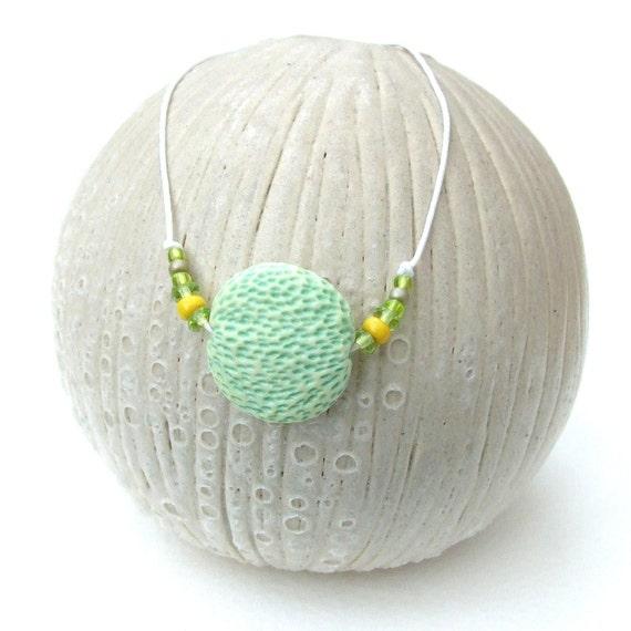 SALE - Handmade Porcelain Bead - Fresh Spring Greens - Clover Lentil - seapods