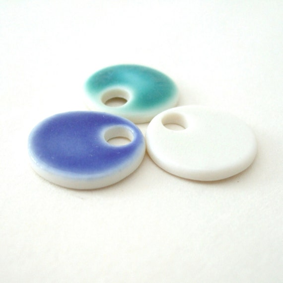 Simple Porcelain Pendants - Turquoise, White, Cobalt Blue - Tiny Circles