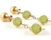 Green sugar beads earring