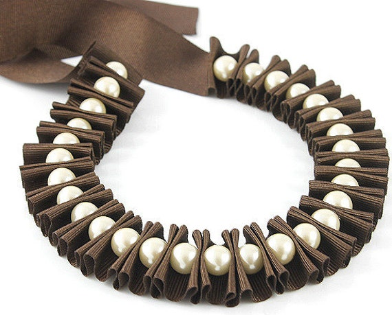 Ribbon jewelry, chocolate brown pleated ribbon necklace