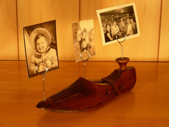Vintage Shoe Form Upcycled into Photo Holder
