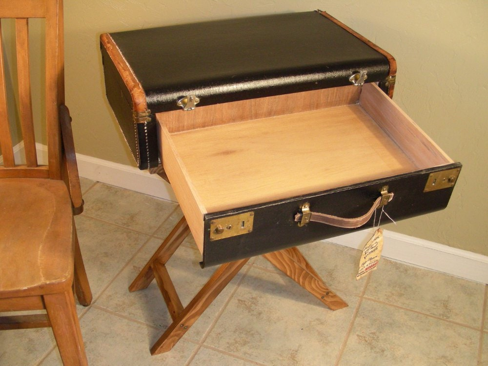 Suitcase table with drawer vintage end by DestinationsVintage