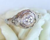 Antique Diamond and Filigree Art Deco Engagement Ring