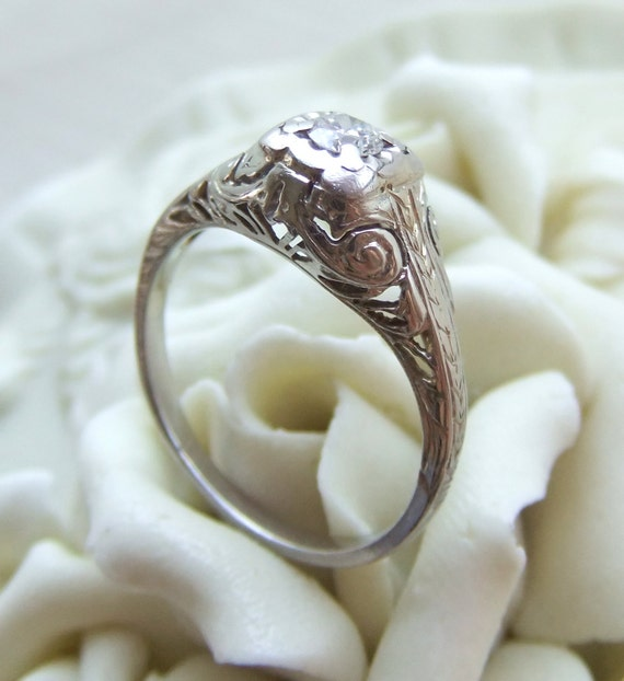 RESERVED for tealpeacock Antique Art Deco Diamond Filigree Engagement Ring with Hearts