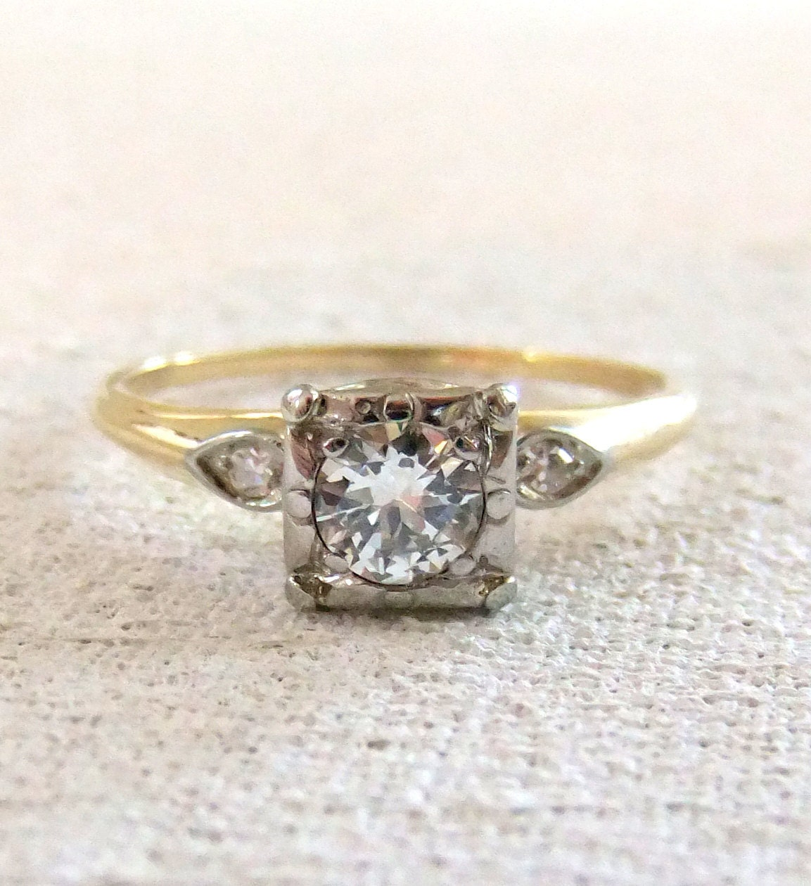 Antique Diamond Two Tone Engagement Ring by jamandtoast on Etsy